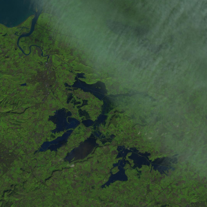 Landsat 8 image acquired on the 23 January 2014 showing the floods within Somerset, UK, with the river Parrett flowing into the Bristol Channel in the top left corner; courtesy of the USGS and NASA.
