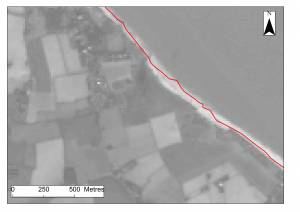 False colour image of coastline at Happisburgh, Norfolk. The red line indicates the cliff edge in 2003, the dark grey line indicates the current cliff edge in 2014 and the beach is shown as a white/light grey area. Image courtesy of the U.S. Geological Survey (based on 15 m resolution).