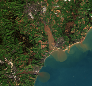 Image of East Devon, UK taken by Landsat 8 on 4th November 2013.  The River Exe flows from top to bottom and the River Teign from left to right. Plumes of suspended sediment are clearly visible following periods of heavy rainfall in late October and early November 2013.  Image courtesy of the U.S. Geological Survey