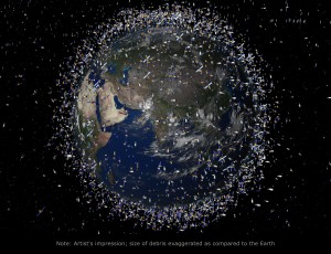 Image: ESA Note: The debris field shown in the image is an artist's impression based on actual data. However, the debris objects are shown at an exaggerated size to make them visible at the scale shown