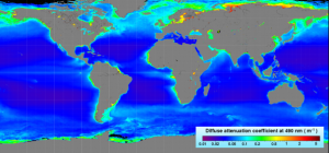 Diffuse attenuation depth at 490 nm, Kd(490), created from the SeaWiFS mission climatological data; data products retrieved from http://oceancolor.gsfc.nasa.gov/