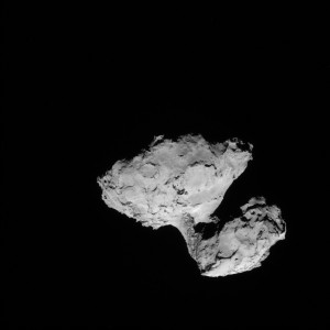 Full-frame NAVCAM image taken on 9 August 2014 from a distance of about 99 km from comet 67P/Churyumov-Gerasimenko. Image: ESA/Rosetta/NAVCAM