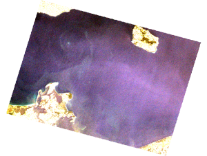 Landsat 7 image showing features in the Baltic, data courtesy of ESA