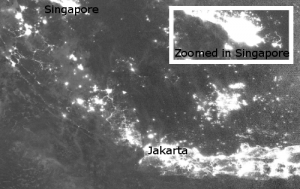 VIIRS Singapore night time imagery, data courtesy of NOAA