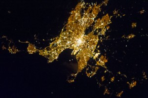 Plymouth by night taken from the International Space Station, Feb 13