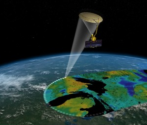 Artist's rendering of the Soil Moisture Active Passive satellite.  Image credit: NASA/JPL-Caltech