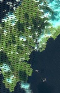 South West England from the 8th December 2014, showing black stripes.  Landsat 7 imagery courtesy of USGS/NASA.