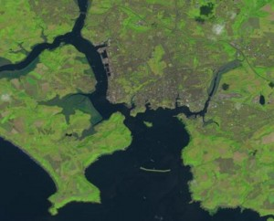 Plymouth Sound on 25th July 2014 from Landsat 8: Image courtesy of USGS/NASA Landsat