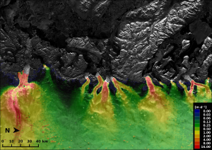 This image combines two Sentinel-1A radar scans from 3 and 15 January 2015 to show ice velocities on outlet glaciers of Greenland's west coast. Courtesy of Copernicus data (2015)/ESA/Enveo