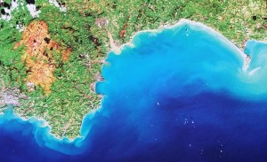 South West UK, Pseudo-true colour image. Landsat 8 data courtesy USGS/NASA
