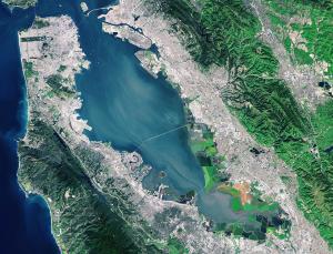 San Francisco USA, Pseudo-true colour image. Landsat 8 data courtesy USGS/NASA/ESA