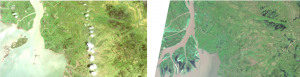 Mouth of Atchafalya River, Louisiana, USA. Landsat 5 image on left from 1985, Landsat 8 image from 2015 on right. Data courtesy of NASA/USGS.