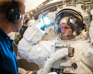 ESA astronaut Tim Peake, tests his NASA spacesuit, at NASA's Johnson Space Center, USA. Image courtesy of NASA.