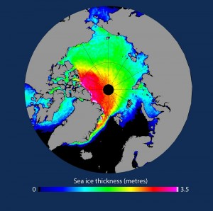 Average thickness of Arctic sea ice in spring as measured by CryoSat between 2010 and 2015. Image courtesy of ESA/CPOM