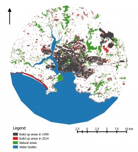 Map showing urban sprawl over last 25 years in the areas surrounding Plymouth