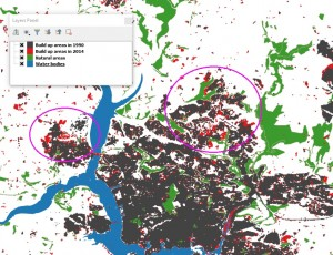 Detailed map showing the key urban sprawl around Plymouth over last 25 years