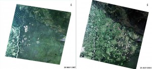 Landsat Images of the south-east area of Bolivia around Santa Cruz de la Sierra 27 years apart showing the changes in land use. Data courtesy of USGS/NASA.