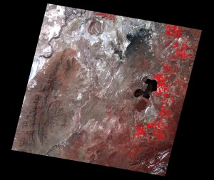 False Colour Composite of the Black Rock Desert, Nevada, USA.  Image acquired on 6th April 2016. Data courtesy of NASA/JPL-Caltech, from the Aster Volcano Archive (AVA).
