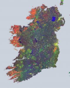 Sentinel-1A multi-temporal colour composite of land coverage across Ireland. Contains modified Copernicus Sentinel data [2015], processed by ESA. Data courtesy of ESA.