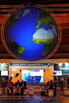 Living planet rotating global in the exhibition area, photo: S Lavender