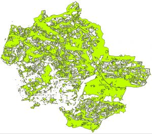 2016 map of green spaces in Plymouth, using Sentinel-2 data courtesy of Copernicus/ESA.