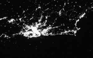 This image of Rio de Janeiro was acquired on the night of July 20, 2012 by the VIIRS instrument aboard the Suomi NPP satellite. Data courtesy of NASA/NASA's Earth Observatory.