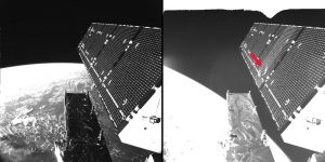 Pictures showing Sentinel-1A's solar array before and after the impact of a millimetre-size particle on the second panel. The damaged area has a diameter of about 40 cm. Data courtesy of ESA>