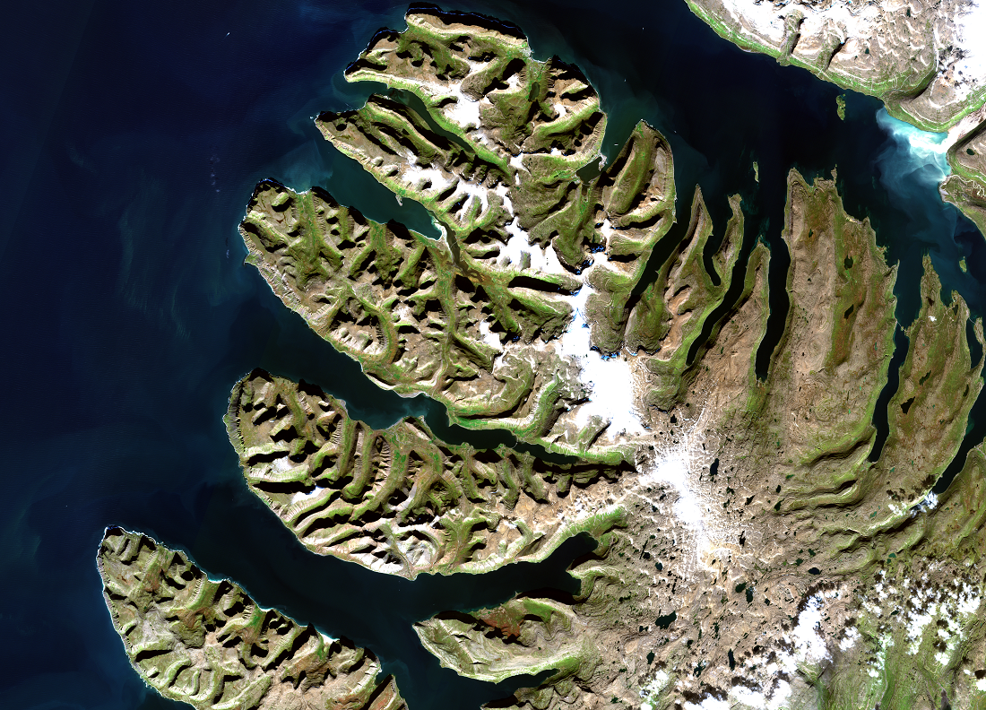 Westfjords area of Iceland, acquired by Sentinel-2. Data courtesy of ESA.
